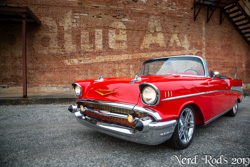 Dick's beautiful red 1957 Chevy Convertible