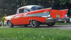Steve's 1957 Two Door Hardtop in Red sitting on a stage 1 Nerd Rods kit frame after completion.