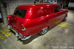 Gary's AMAZING 1955 Handyman wagon in bright red with his Nerd Rods Stage 3+ Rolling chassis after many years of restoration.